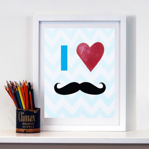 Mustache Decor by Cici Art Factory - Mustache art print for boys