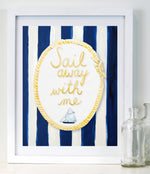 NAUTICAL BABY'S ROOM DECOR - Sail Away with me by Cici Art Factory