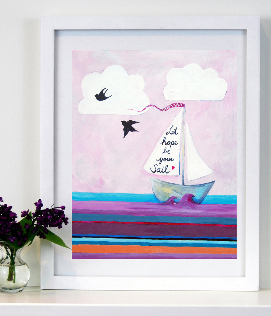 Let Hope be your Sail - Baby Nursery Art