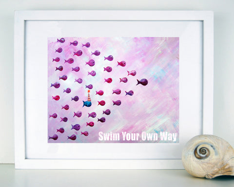 Swim Your Own Way - Blue  - Baby Nursery Art