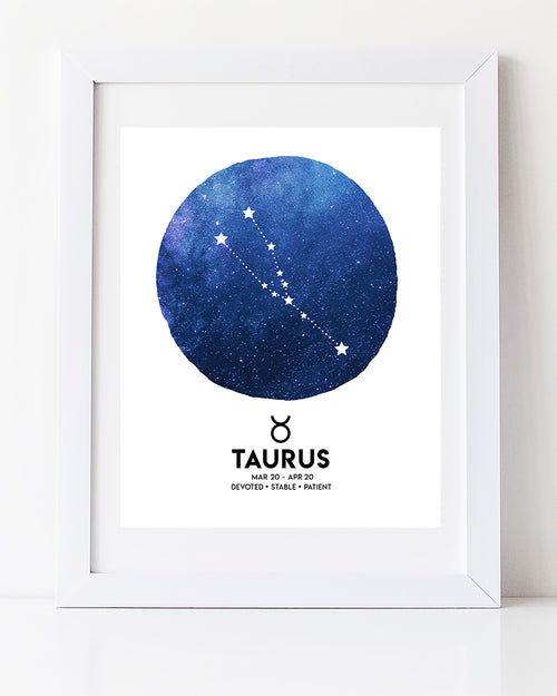 Modern Watercolour Taurus Star Sign art print by Vancouver artist Liz Clay of Cici Art  Factory