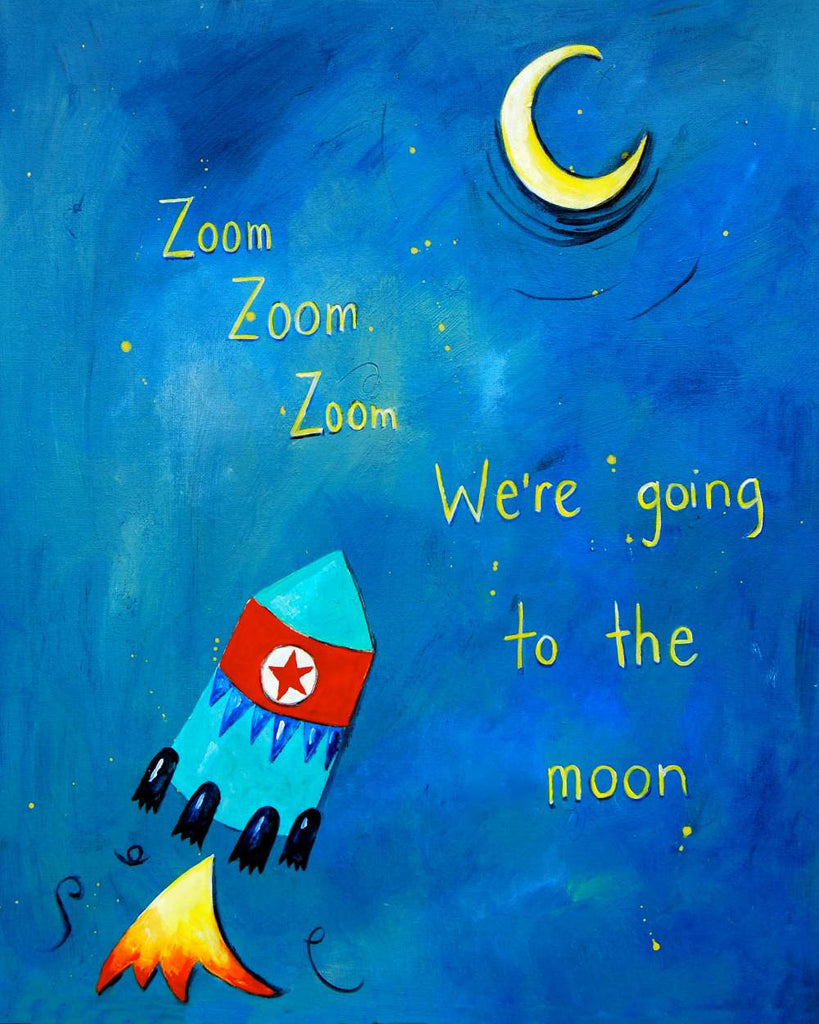 Zoom Zoom Zoom - Baby Nursery Quote Art - Bunny Wall Decor for Baby