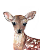 Baby deer nursery woodland art print