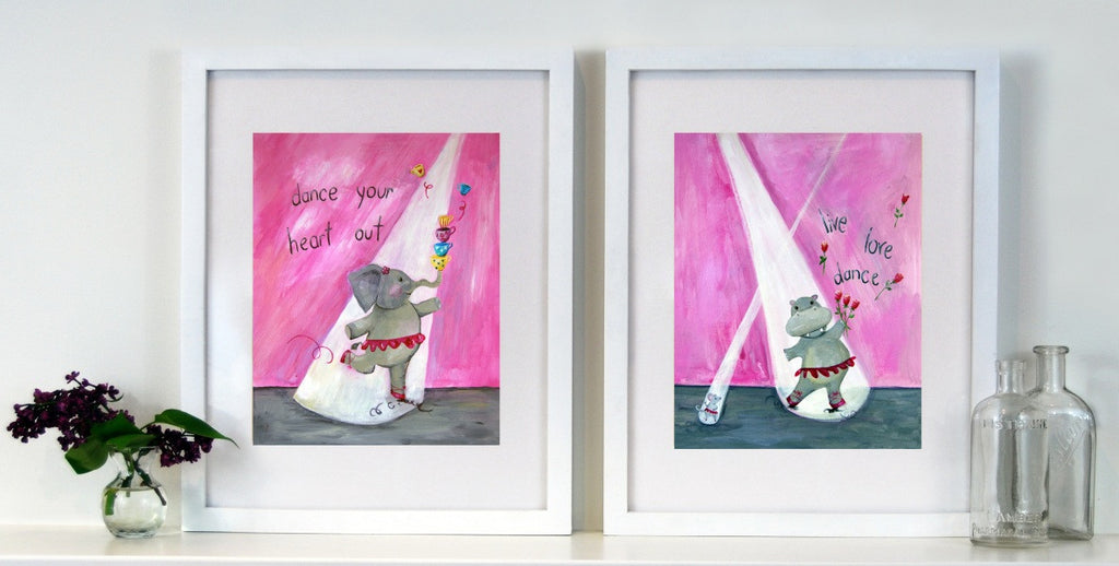 pink Bunny Art for Kid's Rooms -  Catch a Shooting Star  Art for Baby Nursery