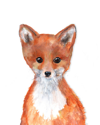 Baby fox woodland nursery decor art print