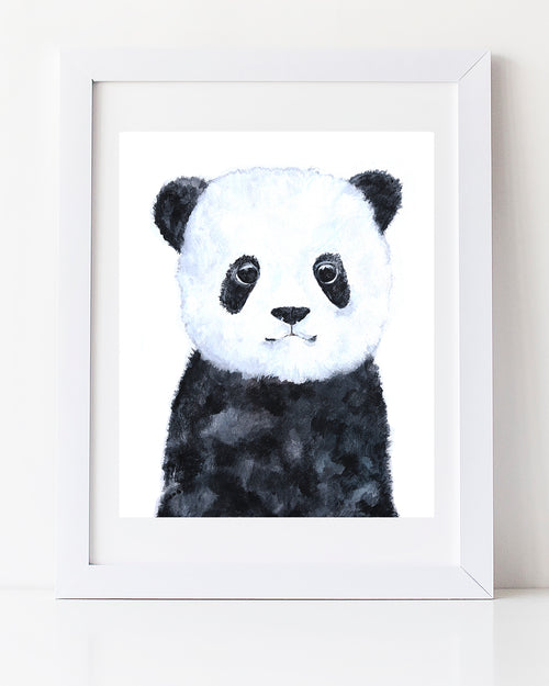 panda painting cute black and white Childrens room