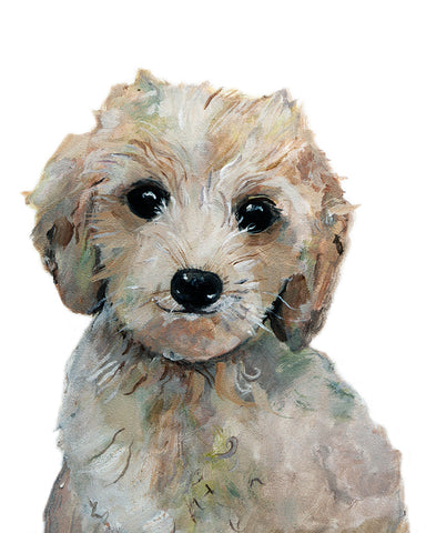 labradoodle puppy art print cute painting