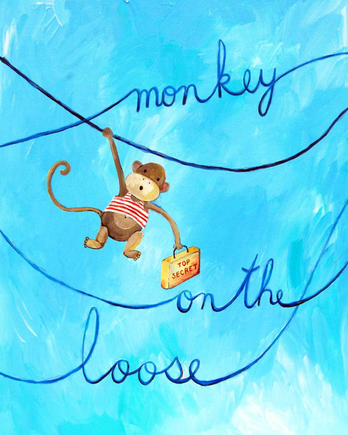 Monkey on the Loose  - Baby Nursery Quote Art - Bunny Wall Decor for Baby