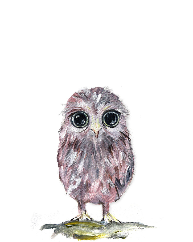 Owl woodland nursery art print