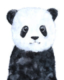 baby panda nursery art black and white cute