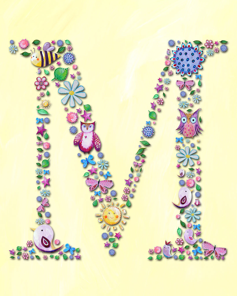 Name Art for Kids - Letter M Nursery Art Print from Cici Art Factory