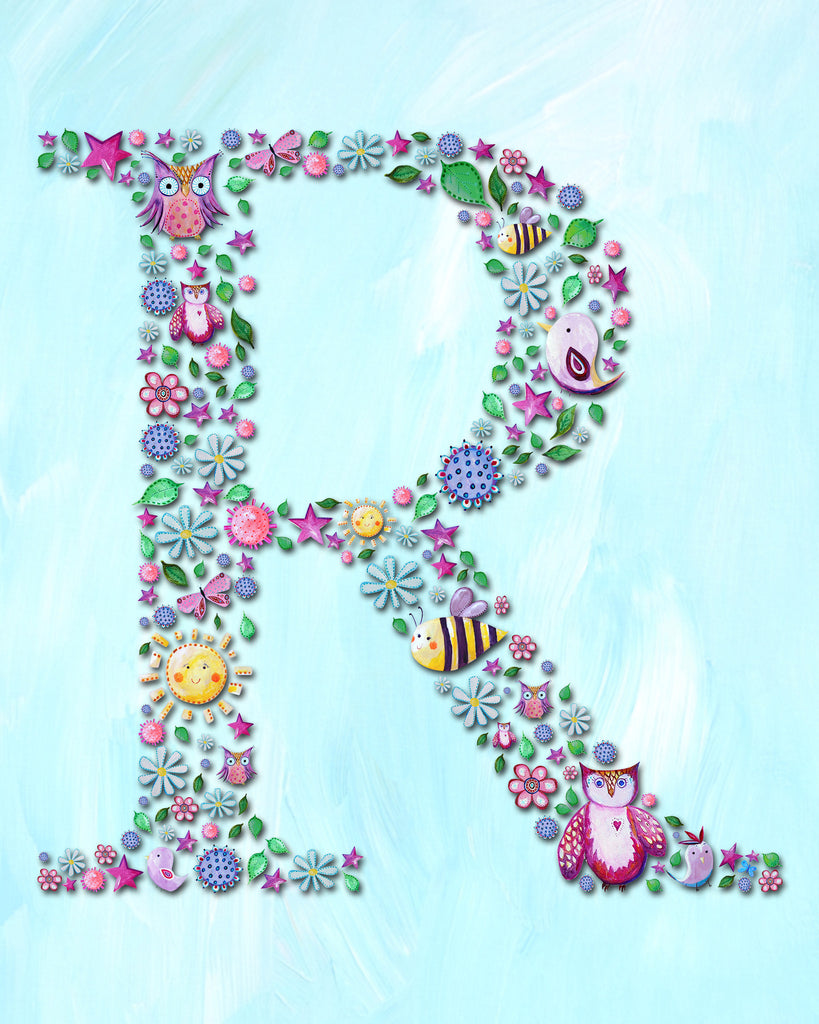 letter nursery wall decor for kids by Liz Clay of Cici Art Factory