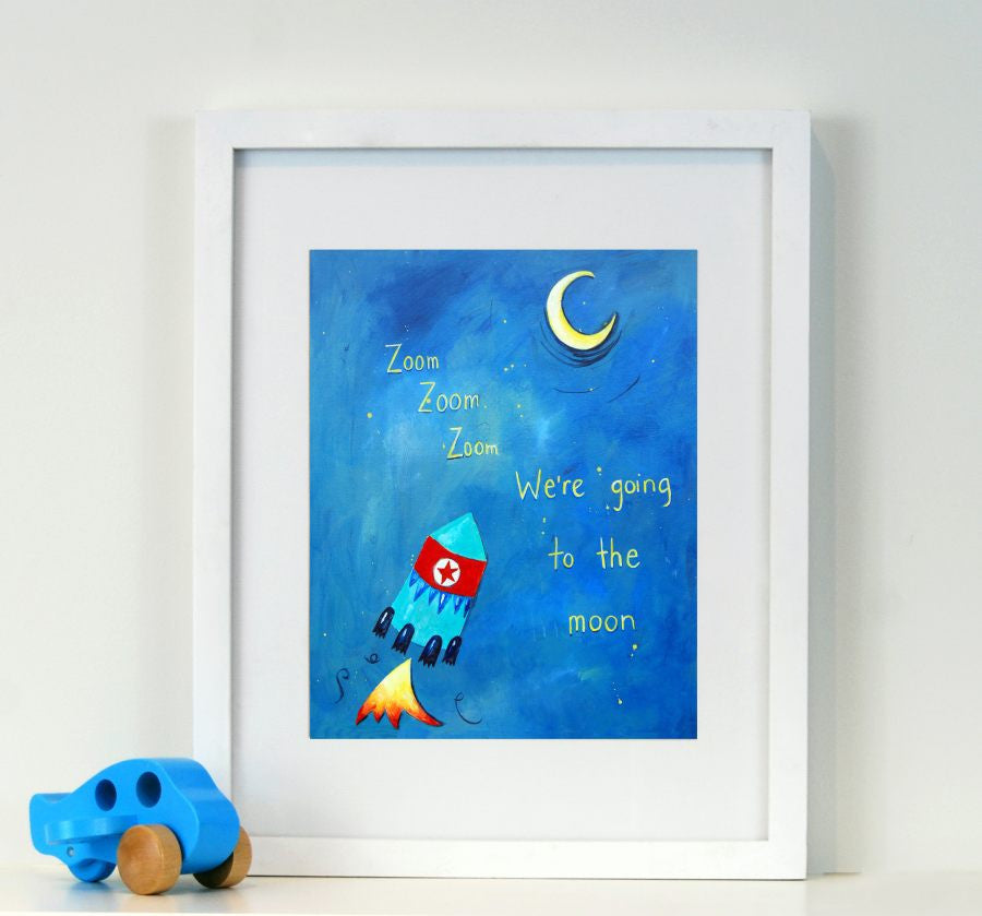 Zoom Zoom Zoom - Baby Nursery Quote Art
