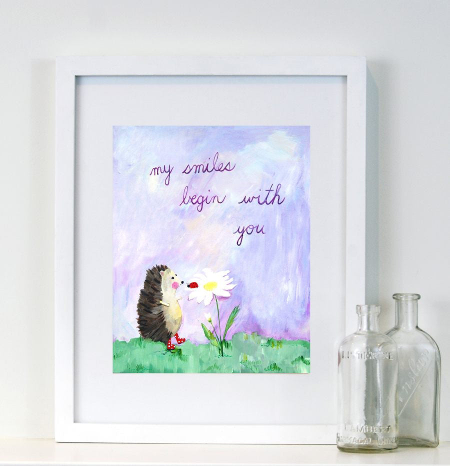 My smiles begin with you - Baby Nursery Quote Art