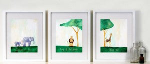 Green Bunny Art for Kid's Rooms -  Catch a Shooting Star  Art for Baby Nursery