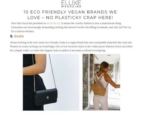 Svala luxury vegan brands in Eluxe