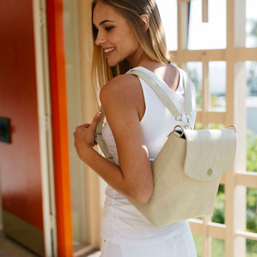 Gemma Backpack Purse - Cream