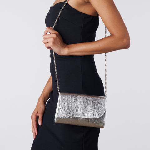 Didi Clutch Mini - Metallic Silver Piñatex®