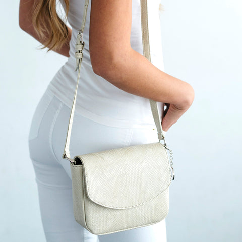 Svala Tashi luxury vegan crossbody handbag in cream