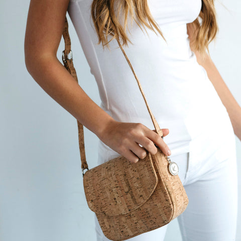 Svala Tashi luxury vegan crossbody handbag in cork