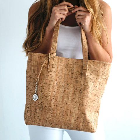 Svala Simma luxury vegan tote handbag in natural cork