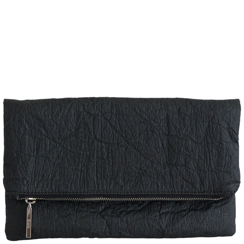 Black Pinatex Leather Foldover Clutch, Eva, Svala
