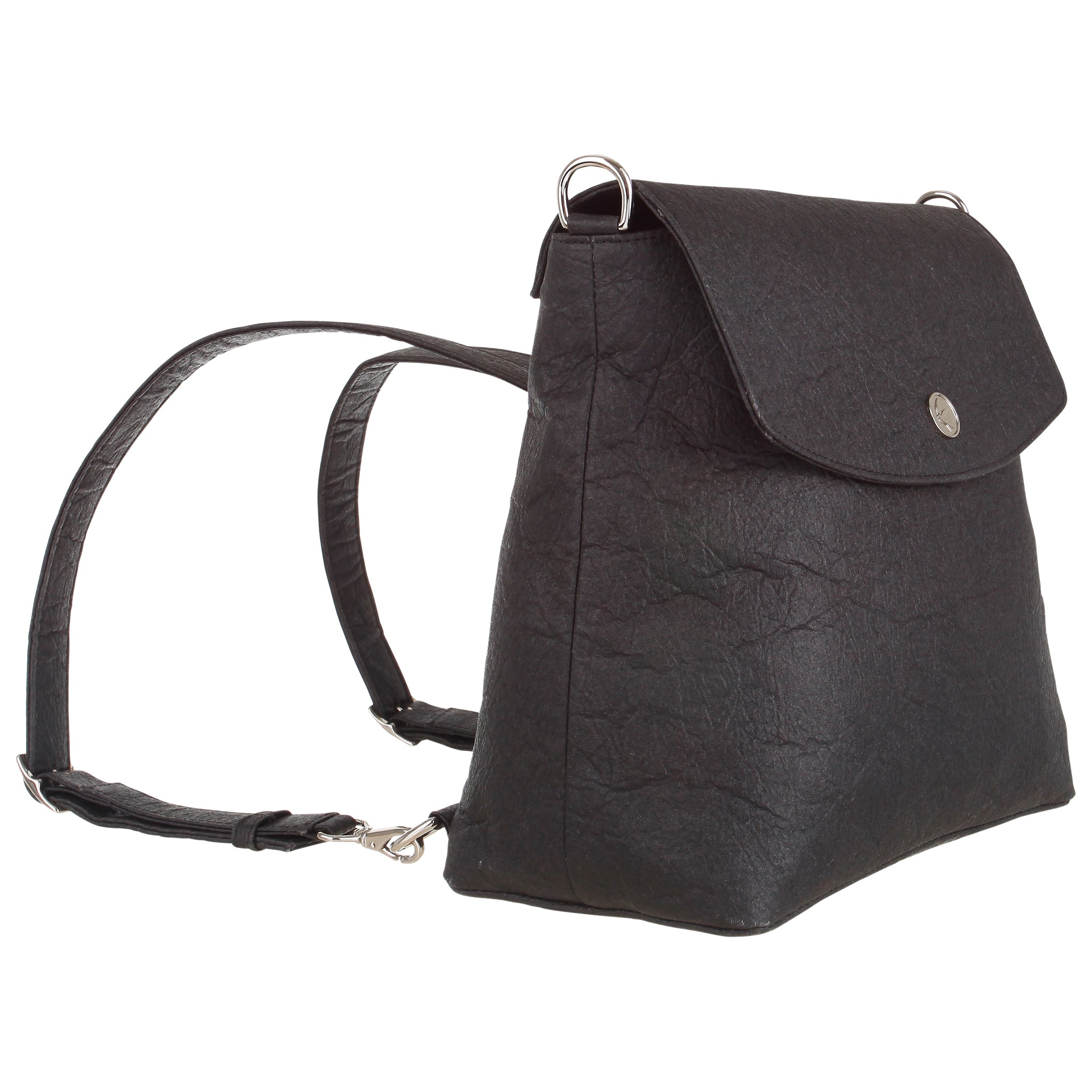 Svala vegan black pinatex Gemma backpack purse