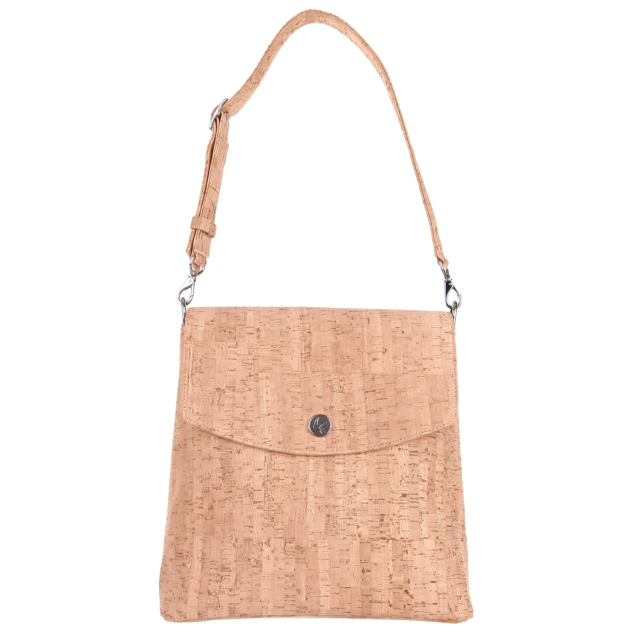 A backpack purse made with cork.