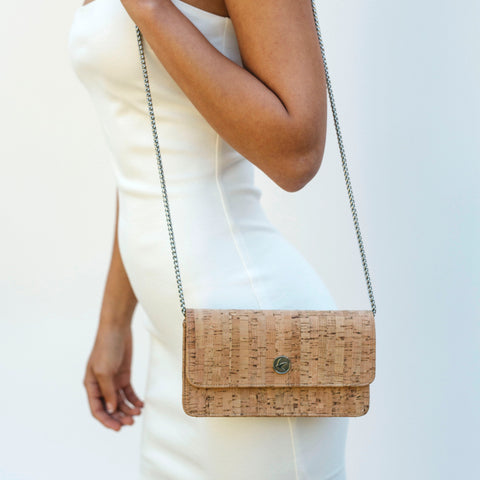 Svala vegan Sara chain wallet in natural cork