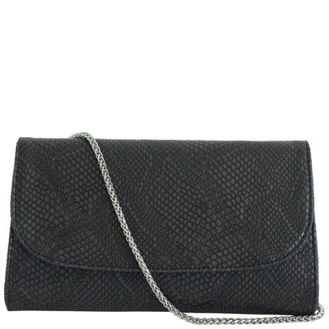 Black Faux Snakeskin Vegan Leather Purse, Didi, Svala