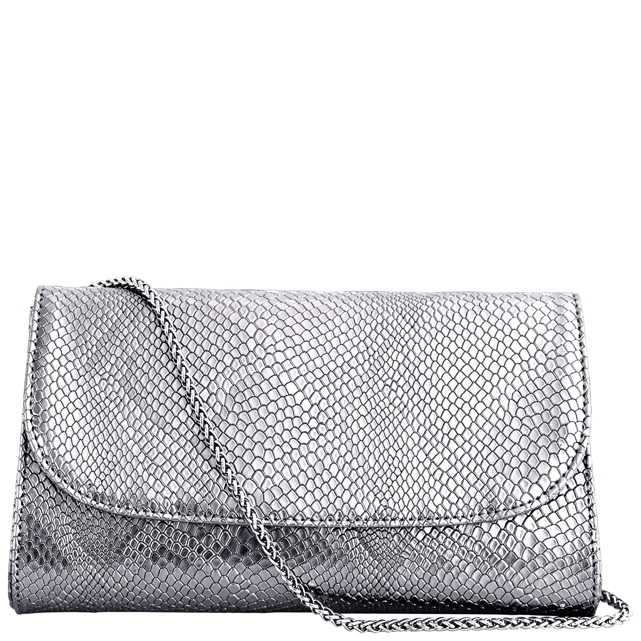 Silver Faux Snakeskin Vegan Leather Purse, Didi, Svala