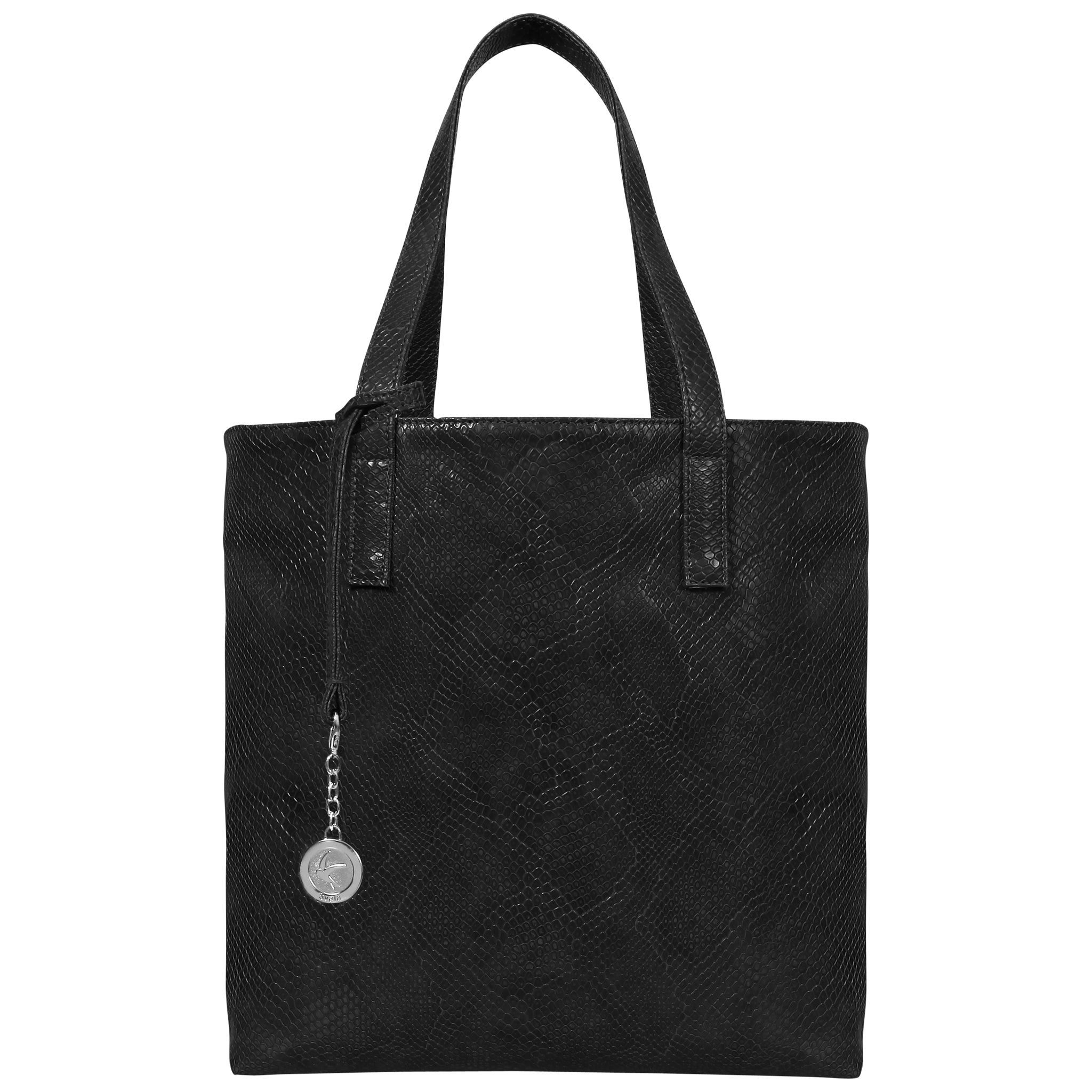 Black Faux Snakeskin Vegan Leather Tote, Simma, Svala