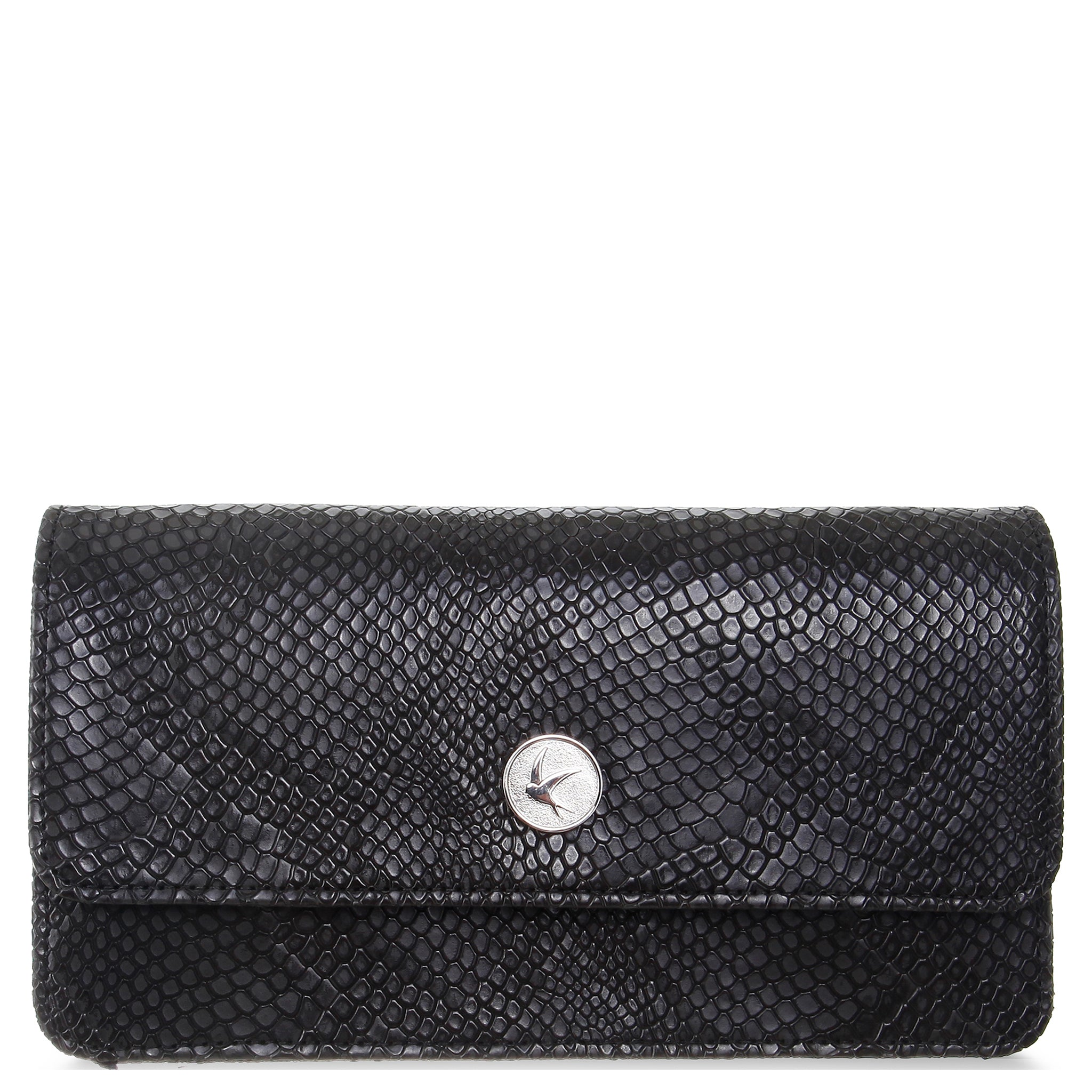 Black Faux Snakeskin Wallet Purse with Chain, Sara, Svala