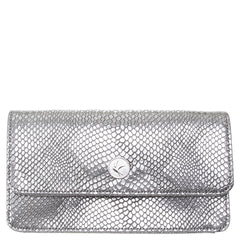 Silver Faux Snakeskin Wallet Purse with Chain, Sara, Svala