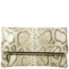 Svala vegan Eva foldover clutch in cream python