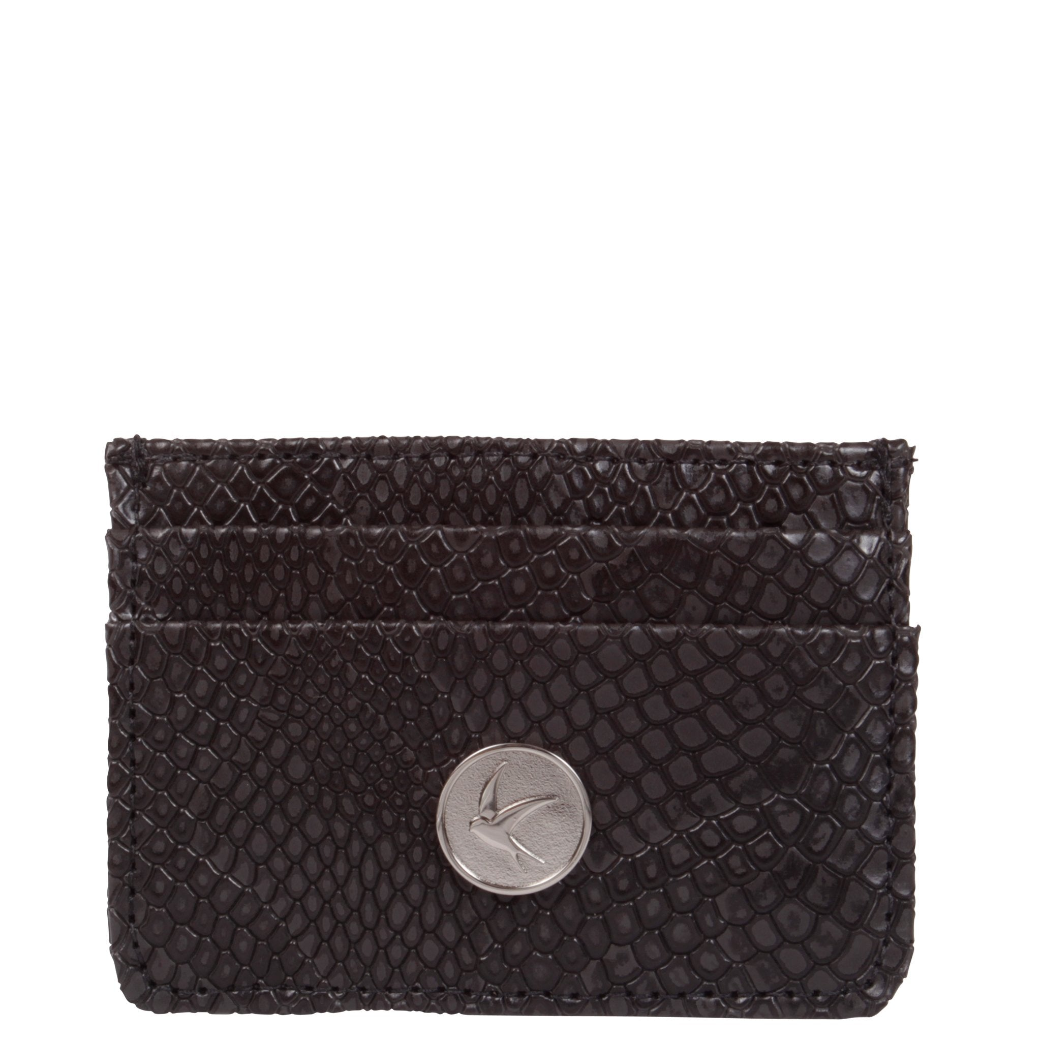 Svala vegan Mia card case in black faux snakeskin