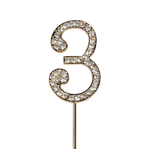 Gold diamante number cake topper