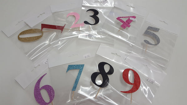 Glitter numbers cake topper