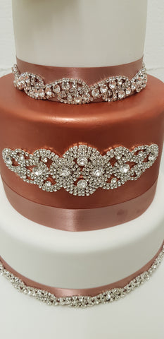 Diamante Crystal Motif Wedding Cake Decoration