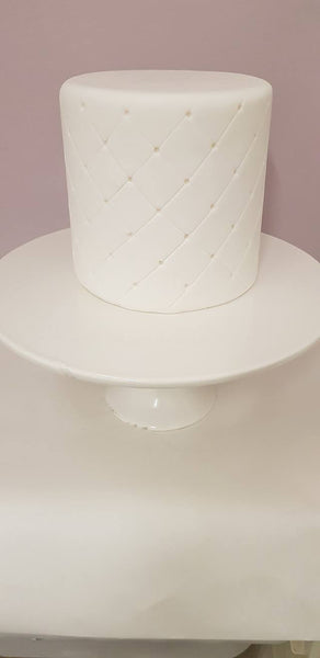DUMMY Cake 'QUILTED' style   - Polystyrene covered with sugarpaste and semi decorated. ***PLEASE TELL US WHEN YOU NEED THE CAKE***