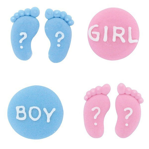 Gender Reveal Sugar Decorations (Pack of 12)