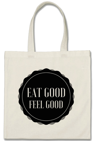 "Cotton Tote Bag - ""Eat Good - Feel Good"""