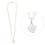 White Freshwater Initial Pearl Necklace White