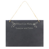 Wedding Flowers Hanging Slate Sign