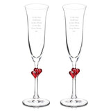 Red Heart Stem Flutes