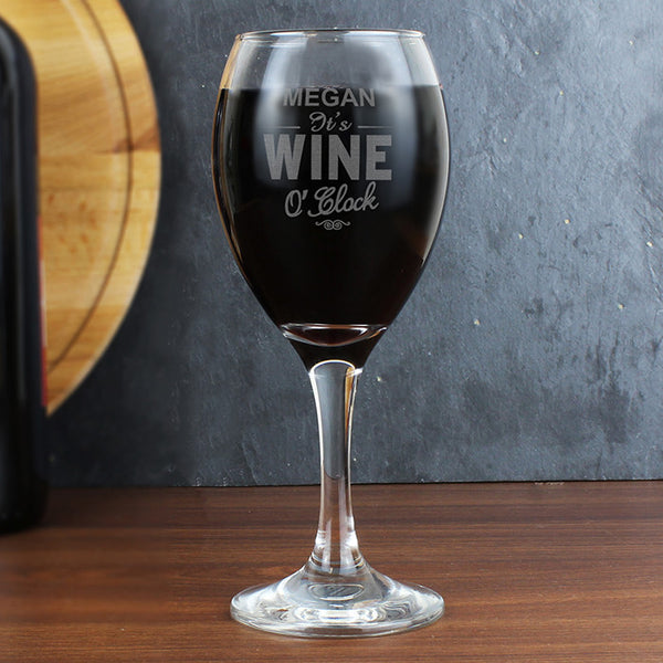 Wine O'Clock Engraved Wine Glass