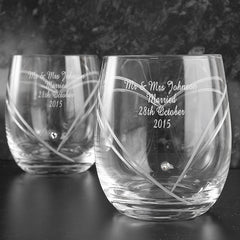 Hand Cut Diamante Heart Whisky Glasses with Swarovski Elements