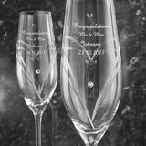 Hand Cut Little Hearts Pair of Diamante Flutes with Swarovski Elements