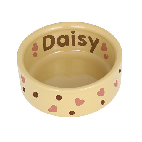 Dotty Heart Medium Brown Pet Bowl