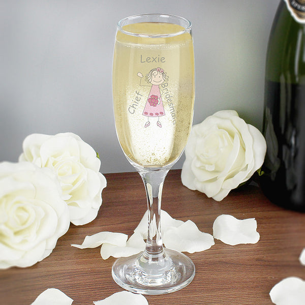 Cartoon Wedding Young Lady Flute Glass